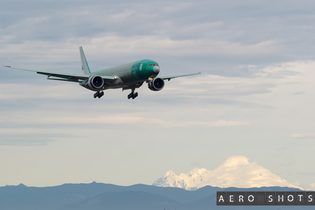 KLM's newest 777 approaches Paine Field